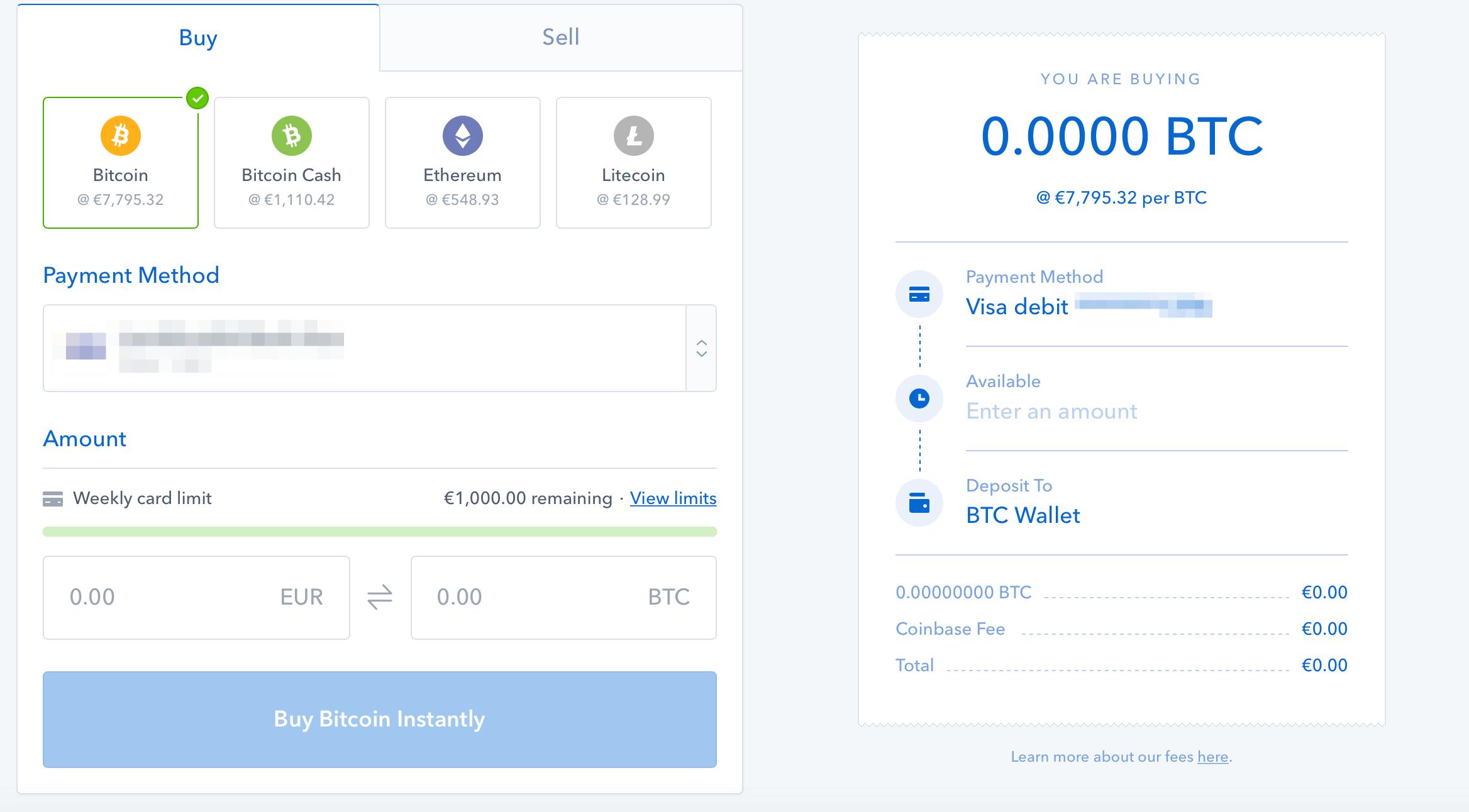 Coinbase-handel av bitcoin steg 1