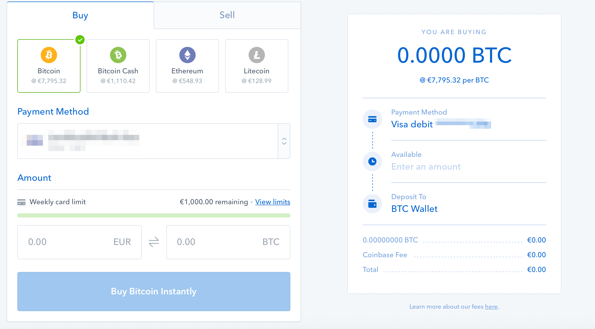 Coinbase-handel steg 1